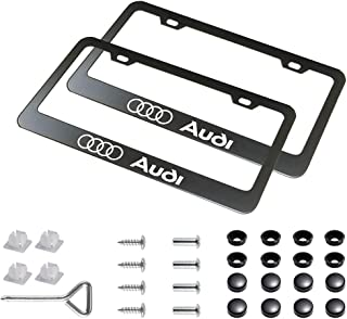 sparkle-um 2pcs Newest Matte Aluminum Alloy License Plate Frame ,with Screw Caps Cover Set Suit,Applicable to US Standard car License Frame, for Audi