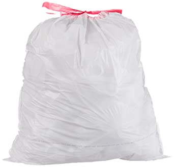 Amazon Com Amazon Basics 13 Gallon Tall Kitchen Trash Bag With Draw String 0 9 Mil White 300 Count Industrial Scientific