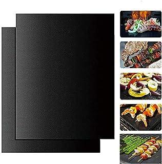 ISENPENK Tapis de barbecue, tapis de cuisson antiadhésif pour barbecue de 40 x 33 cm, tapis de cuisson réutilisable pour f...