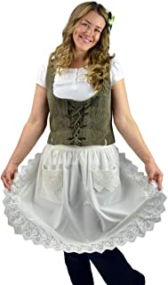 Essence of Europe Gifts E.H.G Deluxe Vintage Lace Waist Apron for Women by E.H.G | Victorian Maid Costume | Half Apron Kitchen Party | Two Pockets | Ecru | Beige