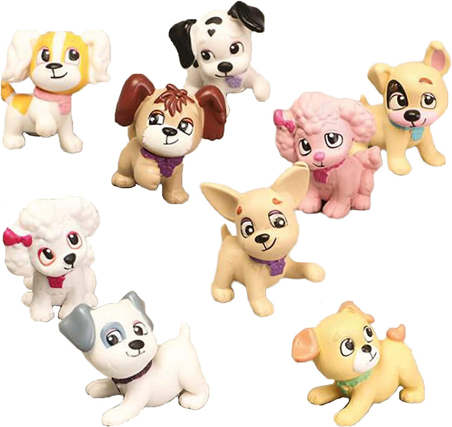 Dog Figurines Direct store Playset 9 Cheap mail order shopping Pcs Puppy Figures Realistic Detailed Fa