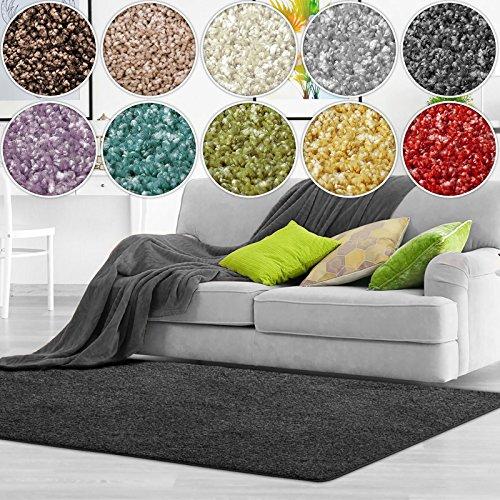 casa pura Shaggy Teppich Bali | weicher Hochflor Teppich für Wohnzimmer, Schlafzimmer und Kinderzimmer | mit GUT-Siegel | Verschiedene Größen | viele Moderne Farben (140 x 200 cm, anthrazit)