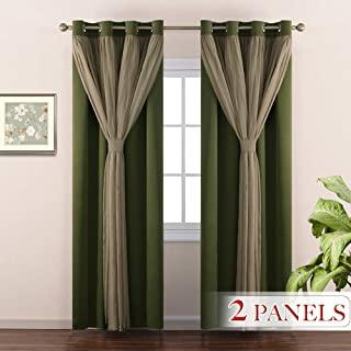 NICETOWN Home Decoration Double-Layer Bedroom Window Treatment Sage Crushed Sheer x Blackout Curtains/Drapes, Fitting 17 inches-40-inch Wide Window (2 Panels, Olive Green, 4 Tie Backs Included)