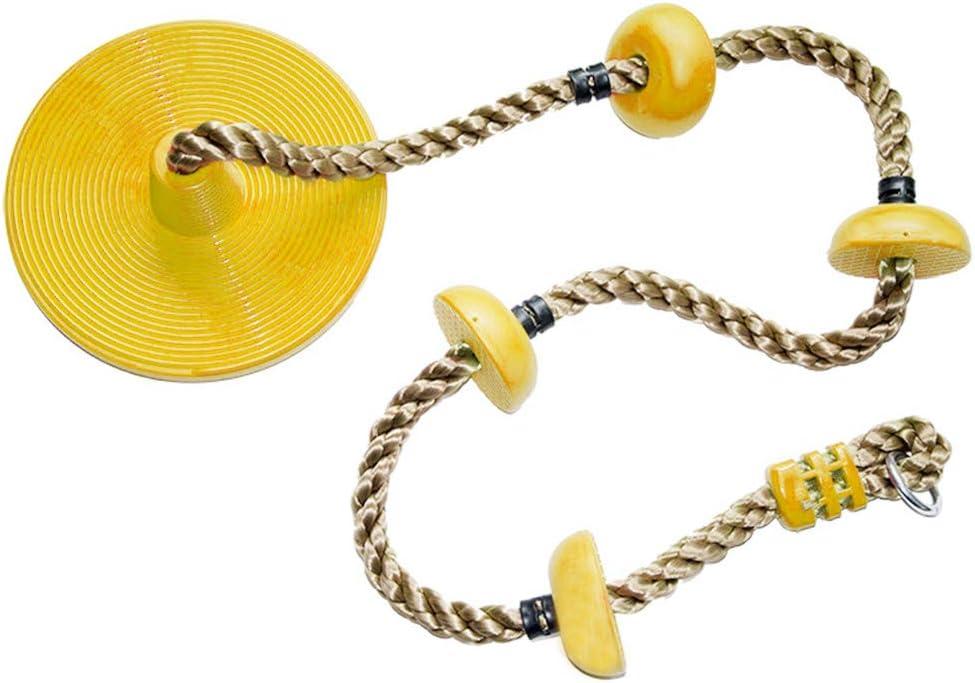 Columpio de escalada, columpio de cuerda de escalada con plataforma de soporte para pies y asiento de columpio de disco para niños al aire libre árbol ...