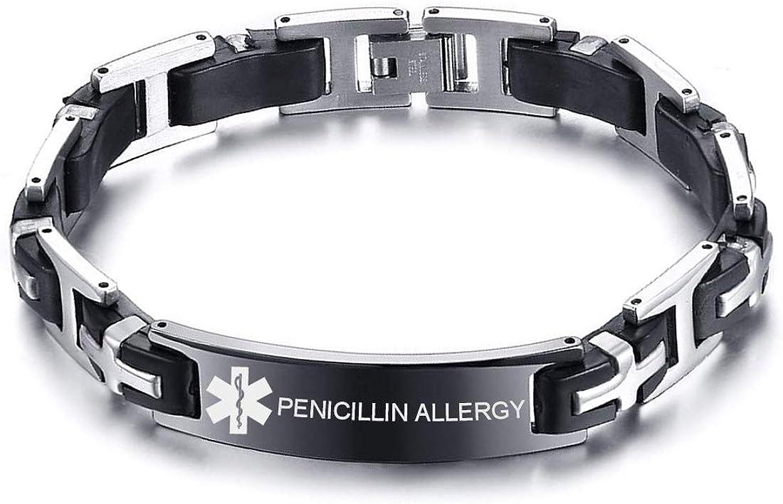 VNOX Custom Engraving Stainless Steel Regular store Silicone Medical Reservation Alert ID