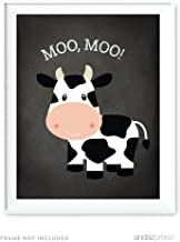 Andaz Press Nursery Kids Room Wall Art Poster, Old Macdonald Farm Animal Collection, Vintage Chalkboard, Cow, 1-Pack, Sign Decorations and Party Decor