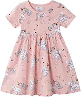 3 4 5 Years Old Kids Girls Short Sleeve Cotton Dress Casual Dress Frocks Summer Girl Clothes with Cartoon Printing