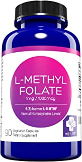 MD. Life L-Methylfolate 1 mg Active Folate 1 Mthfr Support Supplement Professional Strength Methyl Folate - Immune Support, Essential Amino Acids & Brain Supplement- Vegan 90 Purple Carrot Capsules