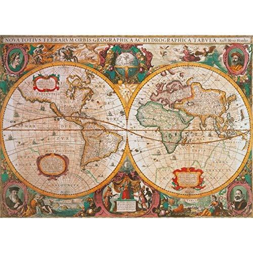 Oude kaart van de wereld1000 puzzels, familiepuzzels, houten puzzels, educatieve spellen, intellectuele uitdagingspuzzels, uitdagingsspellen