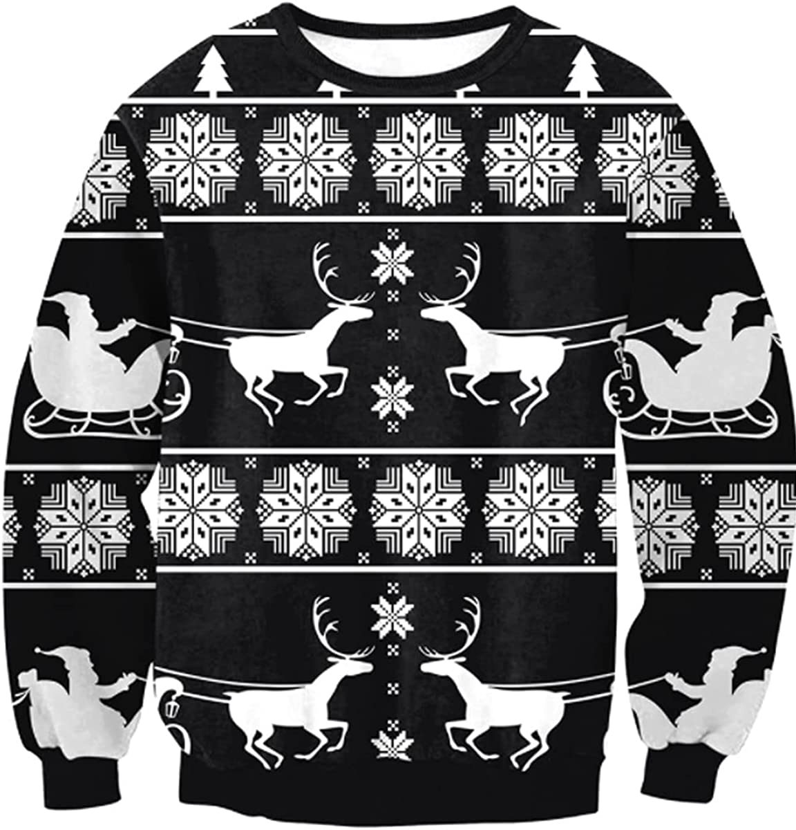SENDEREAL Unisex Pullover Sweatshirt Holiday Party 3D Digital Printing Round Neck Long Sleeve Couple Sweater
