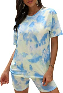 Gecdgzs Women's Tie Dye Sets 2 Piece Casual Outfits Tracksuit Short Sleeves Shorts Set