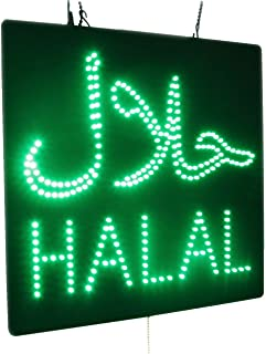Halal Sign with Arabic, Super Bright High Quality Open Sign, Store Sign, Business Sign, Windows Sign for Halal Restaurants