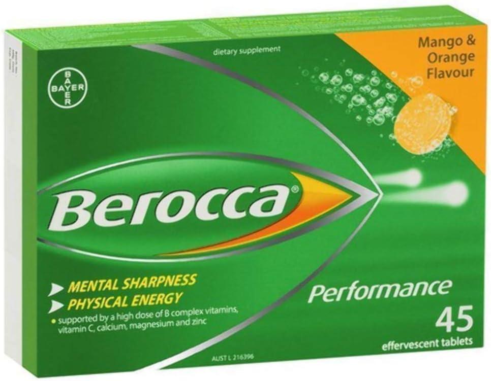 Berocca お見舞い Mango Orange 45 Effervescent Tablets of Pack 返品交換不可 15-Count