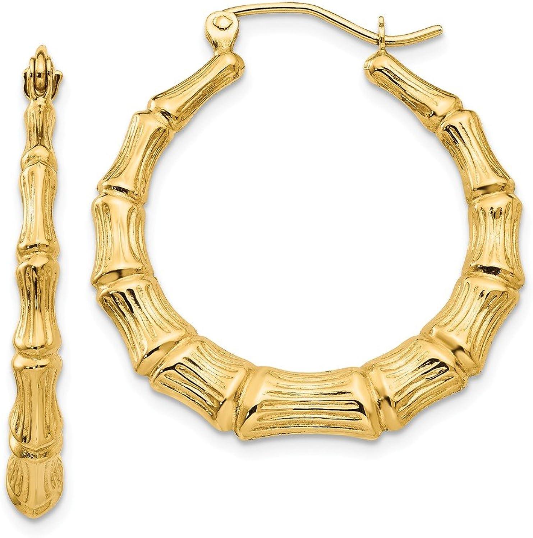 Beautiful Yellow gold 14K Yellowgold 14k Polished Bamboo Hoop Earrings