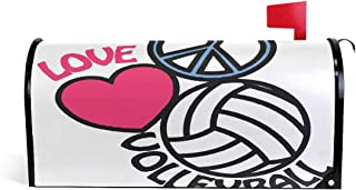 Bardic FICOO Mailbox Cover Peace Volleyball Love Post Letter Box Cover Magnetic Mailbox Wraps Oversized 25.4