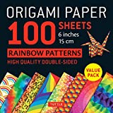 Origami Paper - Rainbow Patterns - 6' Size - 100 Sheets: Tuttle Origami Paper: High-Quality Double-Sided Origami Sheets Printed with 8 Different Patterns (Instructions for 7 Projects Included)