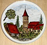 Sammelteller - Großhaslach - Die Großhaslacher Marienkirche - Kirchturm Kirche - Handgemalt -...