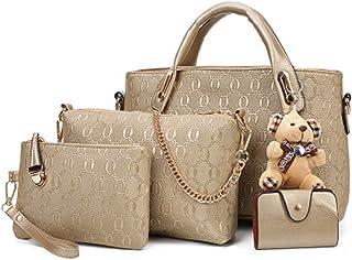 Generic Women 4 Pcs Top Handle Satchel Handbag Set Large Tote Shoulder Bag Car Holder Gold