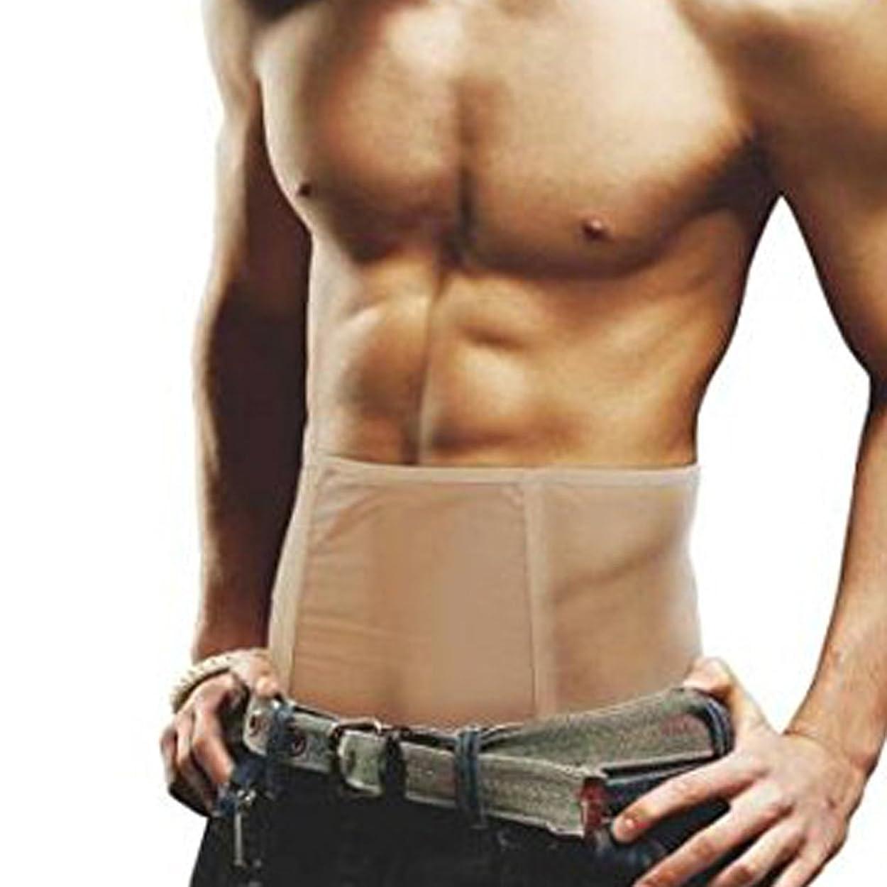 不確実うまくやる()メンズ シェイプアップ 腹巻 ダイエットインナー ウエスト ベルト お腹 痩せ お腹 引き締め 器具 フィットネス 加圧ベルト 減量用 運動用 腹巻き [RCステッカー付き] (ベージュ M size)