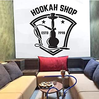 zrisic Hookah Shop Wall Stickers Home Decoration Art Wall Decals Hookah Club Smoking Relax 1998 Wallpaper Pattern Removable 42x45cm