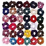 36 Stück Scrunchies Samt, Vegena 36 Farben Haargummis Elastische Gummibänder Haarbänder Bunte Haarseil für Mädchen Damen Frauen Pferdeschwanz Haarschmuck