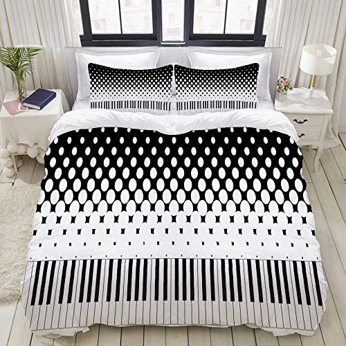 Rorun Juego de Funda nórdica, Juego de Llaves de Piano en Blanco y Negro, Juego de Cama Decorativo Colorido de 3 Piezas con 2 Fundas de Almohada
