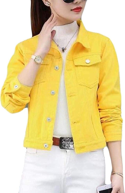 Women Denim Jacket Button Long Sleeve Short Jean Jackets