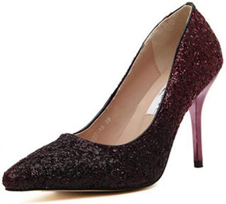 Mofgr Women Pumps golden Sliver Glitter High Heels Comfortable Party shoes