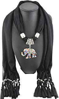 TONSEE Women's Elephant Pendant Tassel Scarf