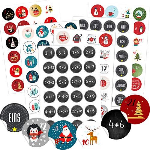 Miuezuth 6 x 24 Adventskalender Zahlen Aufkleben für 6 Weihnachtskalender, 24 Sticker Zahlen Aufkleber für Weihnachten zum Selber Basteln und Verzieren, Runde Nummern Etiketten 4 cm