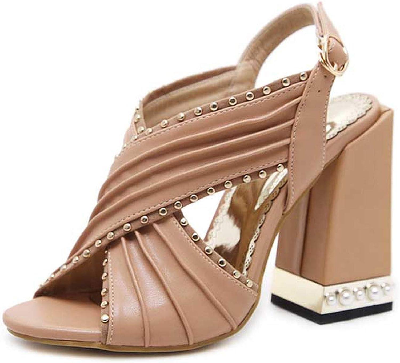 HuangKang Fashion Rivet Women Sandals Clear Heel Crystal Buckle Strap Pumps Sandals Rome Sandals for Women Apricot Black