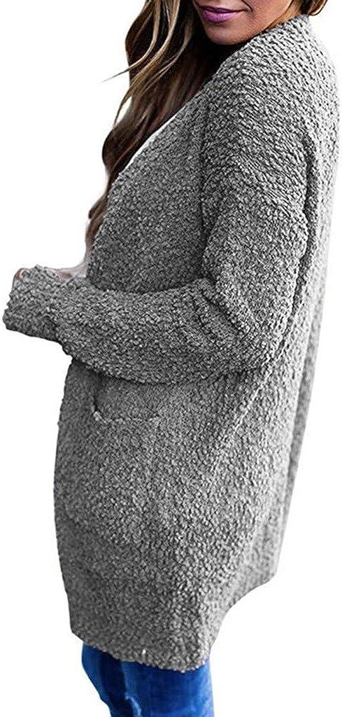 Beautynie Damen Sweatshirt Winter Strickjacke Wolljacke Fleecejacke Teddyjacke Freizeit und Komfort Wintermantel Trenchcoat Wärmejacke Mantel Outwear Grau