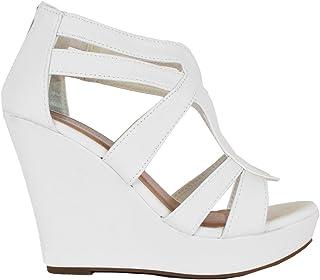 17b1666d0916 Top Moda Lindy Women Fashion Wedge Zipper Sandal Peep Toe Platform Ankle  Strappy Heel 5.5 US