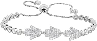 Evan Jewels, EV3-3018 Cubic Zirconia Adjustable Hamsa Bracelet in Sterling Silver (Silver)