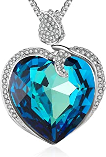 XZP Crystal Heart Pendant Necklace for Women,Austria Crystal Jewelry with Gift Box