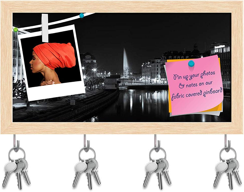 Artzfolio Panoramic View of Geneva Skyline, Switzerland Key Holder Hooks   Notice Pin Board   Natural Brown Frame 15 X 8Inch