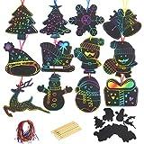KATOOM 48stk Kratzbilder Set Weihnachtsdeko Regenbogen Kratzpapier zum...