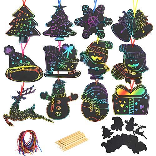 KATOOM 108PCS Scratch Art Navidad Hojas de Rascar Manualidades en Forma de Árbol/Alces/Sombrero/Muñeco de Nieve para los Niños Crear Imagina y Pintura en Casa