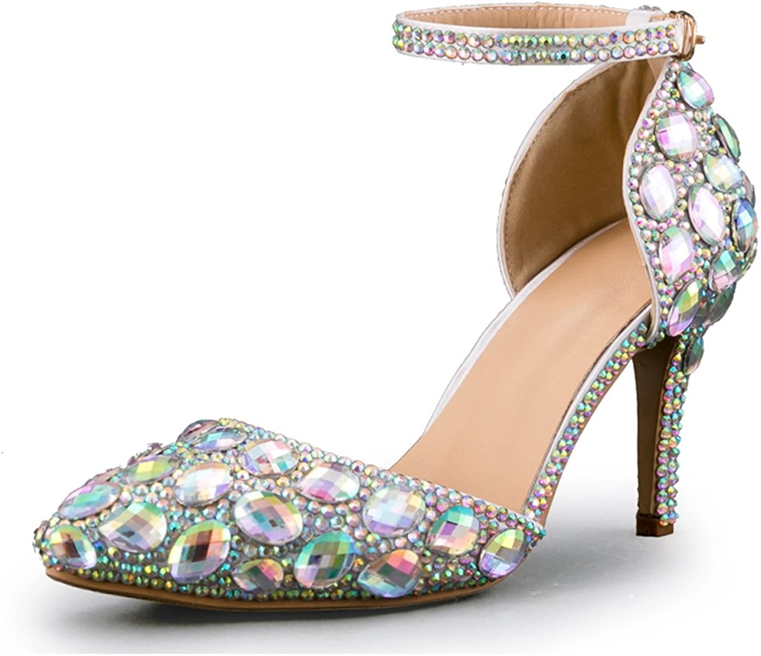Minishion Women's Sparkling Ankle Strap Bridal Wedding shoes with Crystals Rhinestons