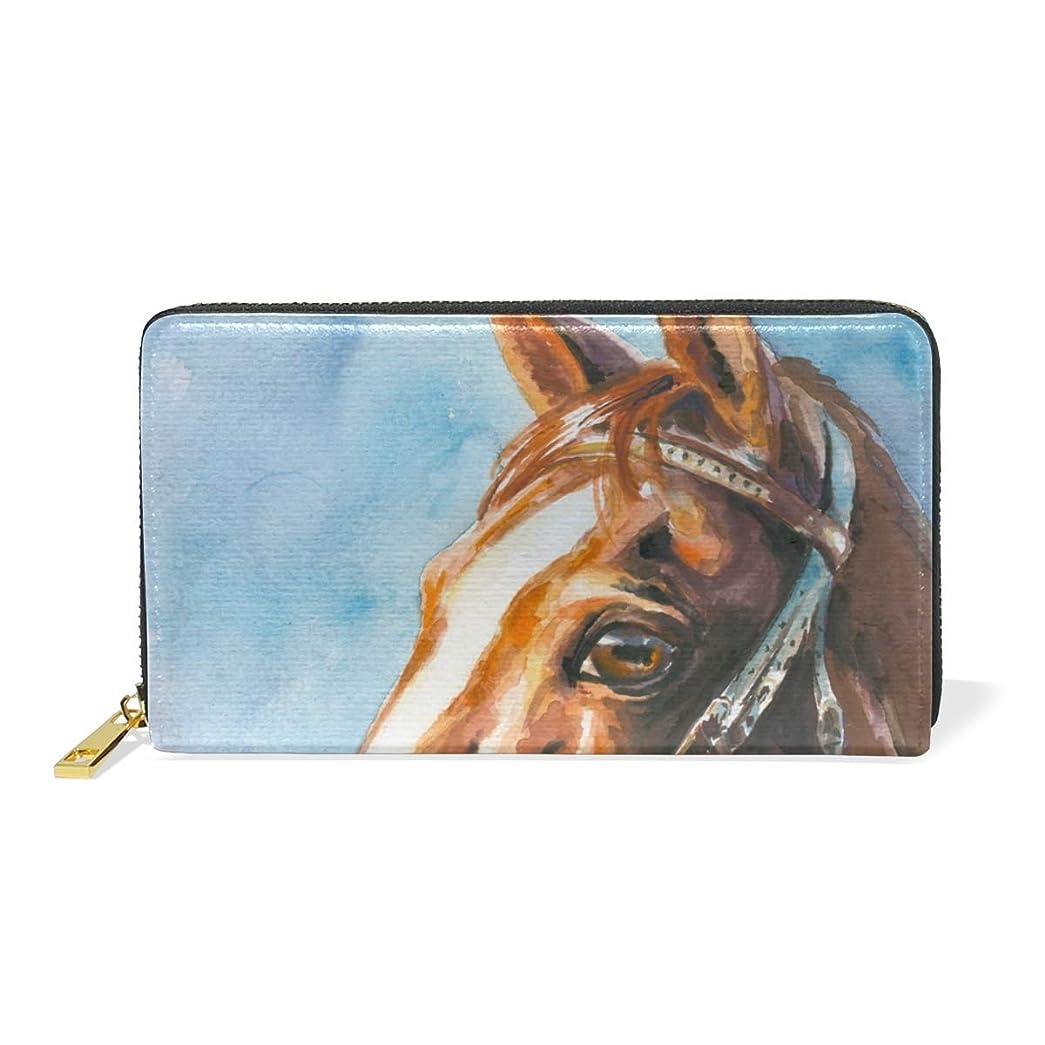 アジア可決プラスチックマキク(MAKIKU) 長財布 レディース 大容量 馬柄 油絵 絵画 レザー 革 プレゼント対応