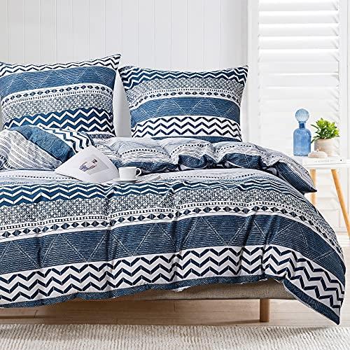 Damier Ropa de cama 135 x 200 azul y blanco geométrico, diseño de rayas, funda nórdica de microfibra con cremallera y 1 funda de almohada