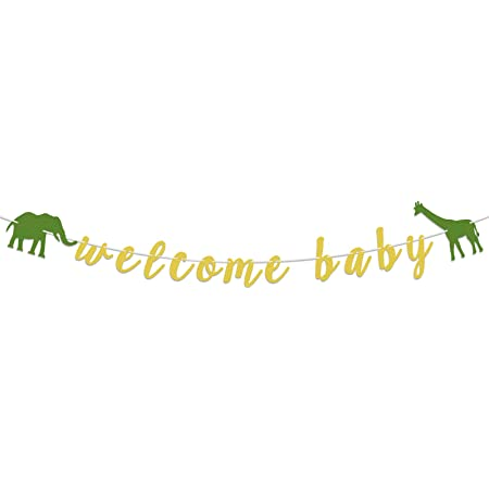 LASKYER Welcome Baby Safari Jungle Theme Banner with Elephant Giraffe Sign Perfect for Baby Shower Wild One Birthday Party Decorations.