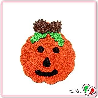 Orange Crochet pumpkin potholder for Halloween - Size: 4.5 inch x 5.5 inch H - Handmade - ITALY