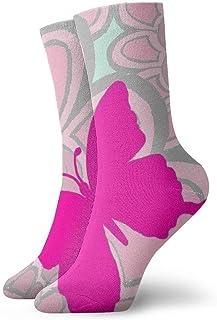 tyui7, Calcetines de compresión antideslizantes de mariposa roja floral rosada Calcetines deportivos acogedores de 30 cm para hombres, mujeres, niños