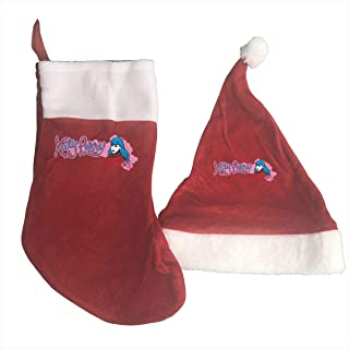 YourYarm Katy Perry Christmas Stockings and Hat Santa Hat+Socks Decorations Ornaments/Gift Bags Set