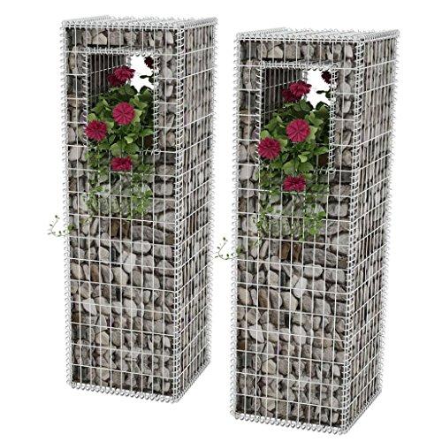 Festnight Gabionen Hochbeet aus Stahl 2 STK. 50x50x160 cm Pflanzkasten Steinsäule Blumentopf
