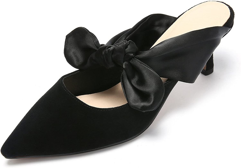 CHENSIR9 Women's Simple Mid Kitten Heel Slip on Casual Sandals Slide shoes