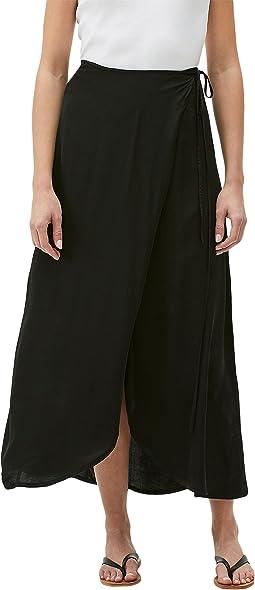 Jolene Washed Satin Sarong Maxi Skirt