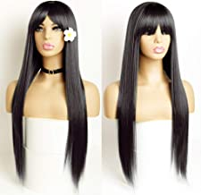 GIANNAY Hair Straight Synthetic Wigs with Bangs Women's Long Black None Lace Front Wigs Daily Wear Cosplay Halloween Wigs ...