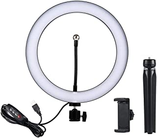 Hamkaw 10inch Dimmable LED Ring Light with Tripod Stand & Cell Phone Holder, Mini Desktop Selfie Ring Light for Live Stream/Makeup/YouTube Video/Photography